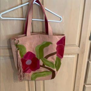 Suede floral coach purse